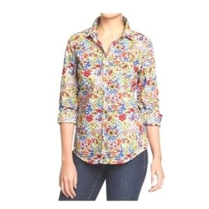 Old Navy Blue Red Floral Button Down Shirt S